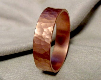 Hammered Copper Ring Hammered Ring Handmade Thick Ring Made to Size Engraving Options