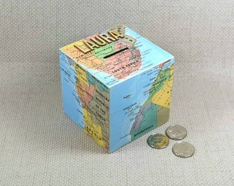 Personalised Map Money Box, Map Gifts, Travel Box, Piggy Bank, Gift for Travellers, Travel Fund Box, Travel Piggy Bank, Free Gift Wrapping!