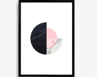 Printable Geometric art, Marble geometric print, Pink, black and white marble print, Minimalist poster, Modern minimalist
