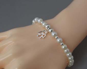 Ivory Pearl Bracelet with Angel Charm, Bridal Bracelet, Ivory Stacking Bracelet, Guardian Angel Bracelet