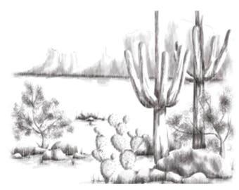 Spellbinders 3D Shading Cling Stamp - Desert, cactus, southwest