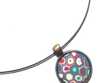Necklace, Unique  Women's retro pink with blue polymer clay Millefiori pendant Chain by Orly Kliger