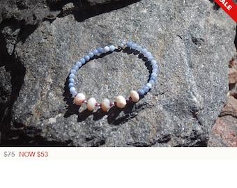 "Sale -  Opal Tanzanite and Garnet Friendship Bracelet - Gemstone Bracelet - ""BFF"""