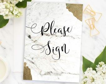 Please Sign Wedding Sign Guestbook Sign wedding reception sign Wedding Modern instant download Wedding Sign wedding marble decor  idwm10