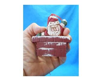 Wood Folk Art Chimney Santa Claus Christmas Tree Ornament #17153