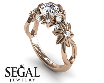 Rose Gold Engagement Ring Moissanite Engagement Ring Nature Inspired Ring Flower Ring Art Deco Ring Rose Gold Engagement Ring - Katherine