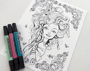Bee Girl Instant Download Coloring Page Pocket Full of Posiez