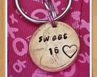 sweet 16 keychain, custom gift 16th birthday penny keychain sixteenth birthday gift for her for daughter personalized sweet 16