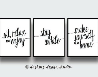 Attractive 75% OFF  Set Of 3 Living Room Wall Decor, Stay Awhile, Make