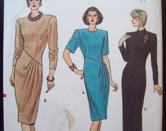 Slim Dress with Shaped Bodice in Two Lengths 1980s Vogue Pattern 9779 Size 6 Uncut Factory Fold