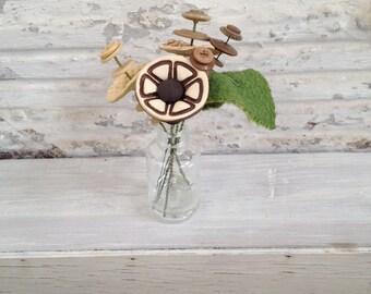 tan, light tan, brown  button flower bottle bouquet