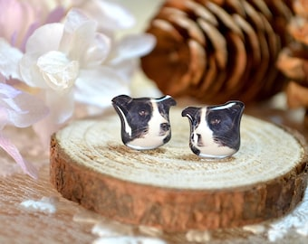 Border Collie earrings handmade Tiny jewelry with linen cotton bag