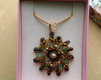 Superduo Beadwoven Pendant . Cute Floral Necklace . Green, Gold, Bronze . Gold Filled Snake Chain - Bright Colors by enchantedbeads on Etsy