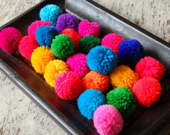 "Hmong hill tribe pom poms - 25 pcs. assorted colours, Standard size yarn pompoms, 20-25mm, 1"" ethnic pom poms, Boho craft supplies - 25"