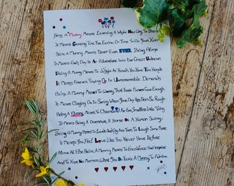 Being A Mummy Rhyming Poem A4 Poster Print