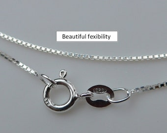 2 pcs - 16 Inches, 1mm 925 Sterling Silver Box Chain, Finished Chain - Made in Italy