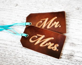 Mr Mrs Luggage Tags, SET OF TWO, Couples Gift, 3rd Wedding Anniversary Leather Luggage Tags, His and Hers Matching Wedding Favors