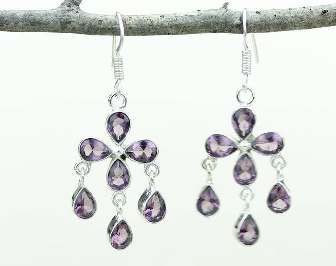 Amethyst 925 SOLID (Nickel Free) Sterling Silver Italian Made Dangle Earrings e639
