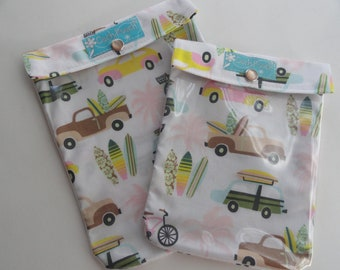 Beach Buggies & Surfboards Ouch Pouch 2 Pack Large 6x8, Medium 5x7 Clear Front Unique Baby Gift Set First Aid Diaper Bag Vacation Organizer