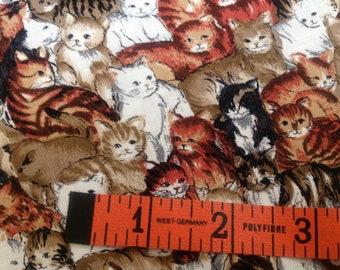 Cat Fabric Brown, Red/brown, Tan, White and Black Small Print Cats HI Fashion Fabrics INC