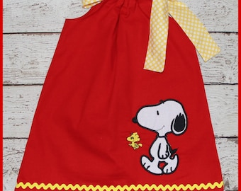 Peanuts Snoopy and Woodstock  Pillowcase style dress Red and yellow polka dot