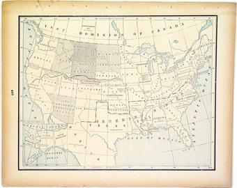 Original 1890s Color Atlas Map of The United States by George F. Cram Color Map Showing Indian Territories of The United States Wall Print
