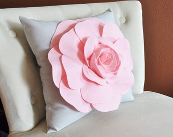 Light Pink Rose on Light Grey Pillow 16x16