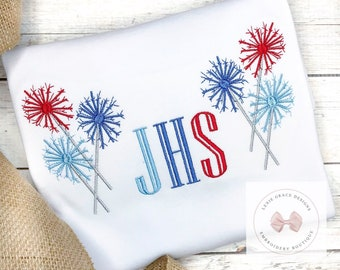 Patriotic Fireworks Embroidered Shirt or Bodysuit with Monogram