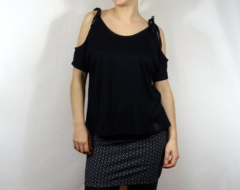 Skirt woman Jersey with small black and white geometric pattern