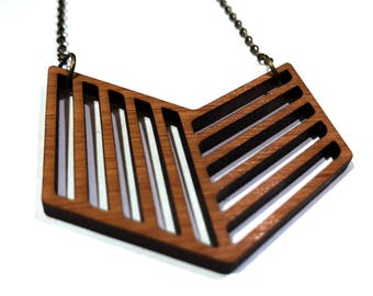 Wooden necklace laser cut, Wooden jewelry