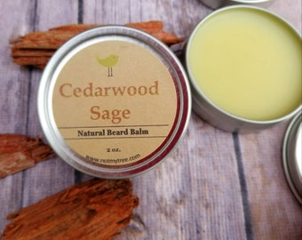 Cedarwood Beard Balm, Sage Beard Balm, Mustache Wax, Beard Care, Facial Hair Grooming, Beard Conditioner, Natural Body Care, Gift for Him