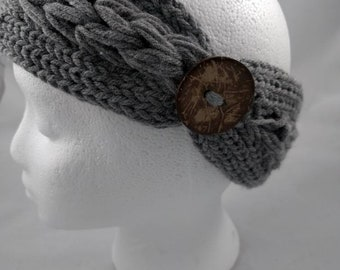 Knit double-braid Headband with Wood button