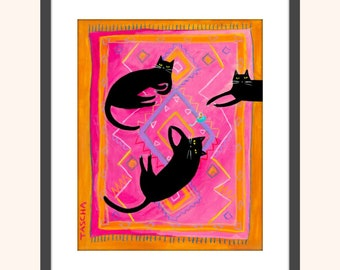 PRINT black cats painting 3 black cats on a wild pink boho rug fun cat folk art poster print from a painting by TASCHA