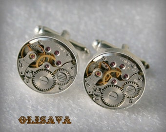 Watch Movement Cufflinks  ,  Steampunk Cufflinks . Steampunk jewelry ,  Vintage Clockwork Watch Movement Cuff Links - Silver