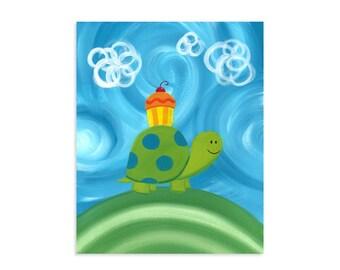 Cupcake Turtle ~ Colorful Whimsical Woodland Artwork