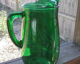 Emerald Green Pitcher, 4 Cup Pitcher, Tea Or Lemonade Pitcher,  Deep Green Glass Kitchenware, Green Drink Ware, Serving Pitcher, Mid Century