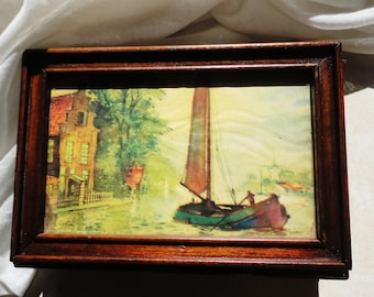 Vintage Wooden Box with Dutch Sailboat Canal Scene Carved Trinket Box with Mirror Donald Art Company Lithograph Image #201 Holland Windmill