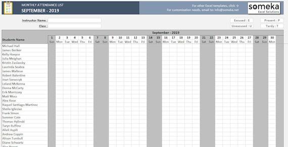 Anwesenheitsliste druckbare Excel Vorlage Zum Download