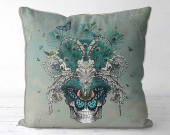 Skull pillow covers Skull cushions covers- Baroque Skull 1 - accent cushion throw pillow pale blue bedroom pillow bedroom cushion butterfly