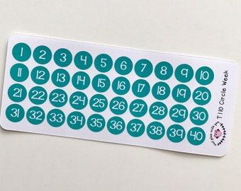 T110 || 40 Circle Week Number Stickers