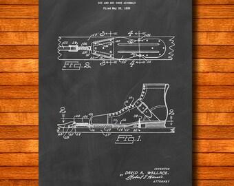 "Retro 1941 ""Ski Shoe Assembly"" Vintage Patent Illustration, Art Print Poster, Wall Art, Home Decor, Skiing, Snow Ski, Skis, Gift Idea 131"