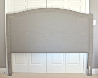 Upholstered Headboard, King, Queen, Full, Twin Size, Camelback Shaped, Gray Linen Fabric, Double Row Hammered Nickel Nailhead Trim
