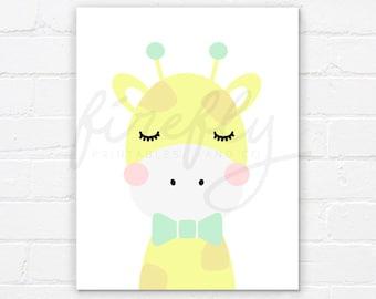 Giraffe Yellow & Ribbon Mint - Nursery Wall Art Decor Kids Bedroom Printable Digital Art INSTANT DOWNLOAD