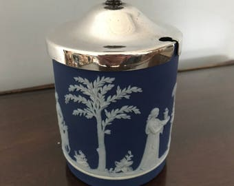 Vintage Wedgwood Dark Blue Jasperware Preserve/Mustard Pot-With Silver Plated Lid