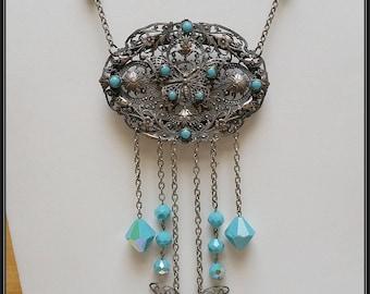 Repurposed Antique Czech filigree brooch/pendant