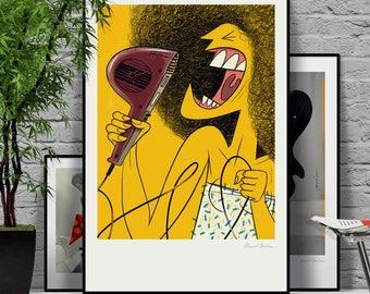 Fema Fame. Original illustration art poster giclée print signed by Paweł Jońca. Singing with a hairdryer in the bathroom.
