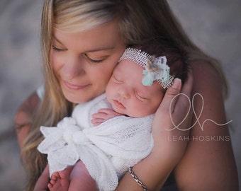 Mint Garden - Tie Back Open Halo Headband - Mint Green Cream - Burlap Bow Lace Ruffles - Newborn Baby Girl Infant Adults - Photo Prop