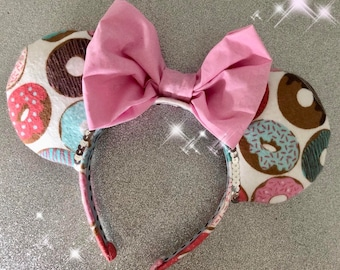 Donut Ears Would You Fancy a Donut Pink Bow Minnie Mouse Ears