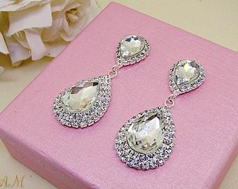 Crystal Earrings, Bridal Earrings, Bridal Jewelry, Wedding Earrings, Teardrop Earrings, Wedding Jewelry, Silver Earrings, CZ Earrings
