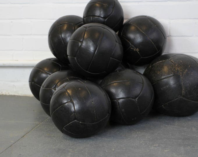 Czech Black Leather Medicine Balls Circa 1940s